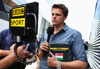 BUDAPEST, HUNGARY - JULY 30:  BBC F1 presenter Jake Humphrey prepares to host their coverage of the Hungarian Formula One Grand Prix at the Hungaroring on July 30, 2011 in Budapest, Hungary.  (Photo by Mark Thompson/Getty Images)