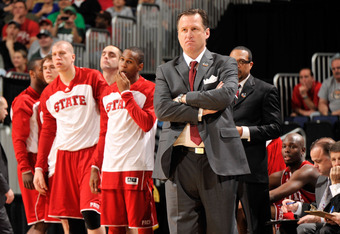 COLUMBUS, OH - MARCH 18: Head coach Mark Gottfried of the North Carolina State Wolfpack looks on during the game against the Georgetown Hoyas during the third round of the 2012 NCAA Men's basketball tournament at Nationwide Arena on March 18, 2012 in Colu