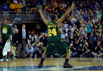 OMAHA, NE - MARCH 16:  Brandon Wheeless #24 of the Norfolk State Spartans celebrates after they won 86-84 against the Missouri Tigers during the second round of the 2012 NCAA Men's Basketball Tournament at CenturyLink Center on March 16, 2012 in Omaha, Ne