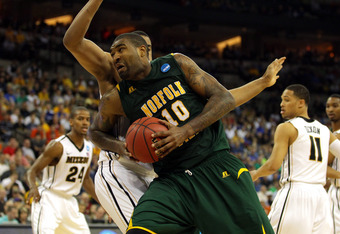OMAHA, NE - MARCH 16:  Kyle O'Quinn #10 of the Norfolk State Spartans drives in the seocn dhalf against the Missouri Tigers during the second round of the 2012 NCAA Men's Basketball Tournament at CenturyLink Center on March 16, 2012 in Omaha, Nebraska.  (