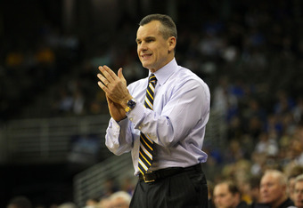 OMAHA, NE - MARCH 16:  Head coach Billy Donovan of the Florida Gators supports his team against the Virginia Cavaliers during the second round of the 2012 NCAA Men's Basketball Tournament at CenturyLink Center on March 16, 2012 in Omaha, Nebraska.  (Photo
