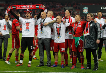 LONDON, ENGLAND - FEBRUARY 26:  Liverpool celebrate victory after the Carling Cup Final match between Liverpool and Cardiff City at Wembley Stadium on February 26, 2012 in London, England. Liverpool won 3-2 on penalties.  (Photo by Paul Gilham/Getty Image