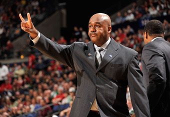 COLUMBUS, OH - MARCH 18: Head coach John Thompson III of the Georgetown Hoyas signals from the bench against the North Carolina State Wolfpack in the first half during the third round of the 2012 NCAA Men's basketball tournament at Nationwide Arena on Mar