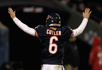 CHICAGO, IL - NOVEMBER 20:  Jay Cutler #6 of the Chicago Bears tries to quiet down the crowd against the San Diego Chargers at Soldier Field on November 20, 2011 in Chicago, Illinois. The Bears defeated the Chargers 31-20.  (Photo by Jonathan Daniel/Getty