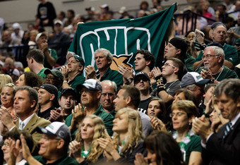 NASHVILLE, TN - MARCH 18:  Ohio Bobcats Fans watch the game between the Ohio Bobcats and the South Florida Bulls during the third round of the 2012 NCAA Men's Basketball Tournament at Bridgestone Arena on March 18, 2012 in Nashville, Tennessee.  (Photo by
