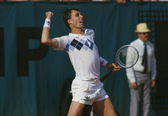 Czech tennis player Ivan Lendl celebrates at the men's singles final of the Tournoi de Roland-Garros (French Open), at the Stade Roland Garros, Paris, June 1984. Lendl beat John McEnroe of the USA to win the match 3-6, 2-6, 6-4, 7-5, 7-5. (Photo by Steve