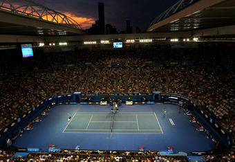 MELBOURNE, AUSTRALIA - JANUARY 29:  A general view of Rod Laver Arena as the sun sets as Rafael Nadal of Spain plays in his men's final match against Novak Djokovic of Serbia during day fourteen of the 2012 Australian Open at Melbourne Park on January 29,