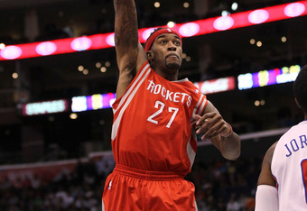 LOS ANGELES, CA - JANUARY 04:  Jordan Hill #27 of the Houston Rockets shoots against the Los Angeles Clippers at Staples Center on January 4, 2012 in Los Angeles, California.  NOTE TO USER: User expressly acknowledges and agrees that, by downloading and o