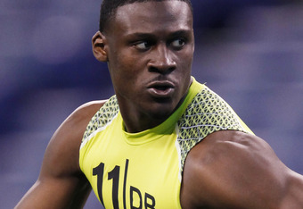 INDIANAPOLIS, IN - FEBRUARY 28: Defensive back Morris Claiborne of LSU participates in a drill during the 2012 NFL Combine at Lucas Oil Stadium on February 28, 2012 in Indianapolis, Indiana. (Photo by Joe Robbins/Getty Images)