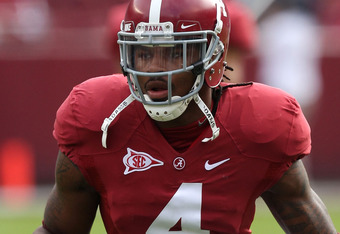 TUSCALOOSA, AL - NOVEMBER 19:  Defensive back Mark Barron #4 of the Alabama Crimson Tide runs some practice drills before the game against the Georgia Southern Eagles at Bryant-Denny Stadium on November 19, 2011 in Tuscaloosa, Alabama.  (Photo by Mike Zar