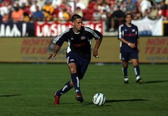 FRISCO, TX - NOVEMBER 13:  Clint Dempsey #2 of the New England Revolution makes a pass in the first hlaf during MLS Cup 2005 against the Los Angeles Galaxy at Pizza Hut Park on November 13, 2005 in Frisco, Texas. The Galaxy defeated the Revolution 1-0 to