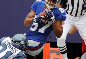 Domenik Hixon (87) notches his first ever receiving NFL TD in October of 2008.