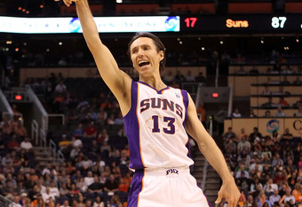 PHOENIX, AZ - MARCH 12: Steve Nash #13 of the Phoenix Suns reacts after hitting a shot against the Minnesota Timberwolves during the NBA game at US Airways Center on March 12, 2012 in Phoenix, Arizona. The Timberwolves defeated the Suns 127-124.  NOTE TO