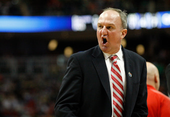 PITTSBURGH, PA - MARCH 17:  Head coach Thad Matta of the Ohio State Buckeyes argues with a referee during a timeout in the second half against the Gonzaga Bulldogs during the third round of the 2012 NCAA Men's Basketball Tournament at Consol Energy Center