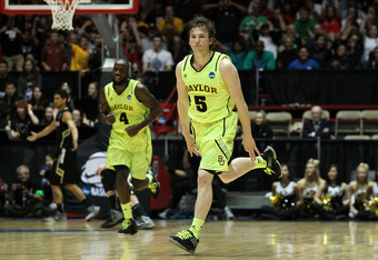 ALBUQUERQUE, NM - MARCH 17: Brady Heslip #5 of the Baylor Bears celebrates hitting a 3-point shot in the first half against the Colorado Buffaloes during the third round of the 2012 NCAA Men's Basketball Tournament at The Pit on March 17, 2012 in Albuquer