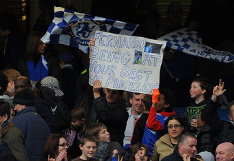 LONDON, ENGLAND - MARCH 18: Chelsea fans hold up a banner about Fernando Torres during the FA Cup sixth round match between Chelsea and Leicester City at Stamford Bridge on March 18, 2012 in London, England.  (Photo by Michael Regan/Getty Images)