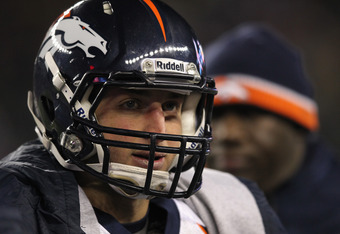 FOXBORO, MA - JANUARY 14:  Tim Tebow #15 of the Denver Broncos looks on against the New England Patriots during their AFC Divisional Playoff Game at Gillette Stadium on January 14, 2012 in Foxboro, Massachusetts.  (Photo by Jim Rogash/Getty Images)
