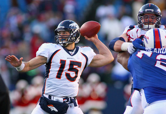 ORCHARD PARK, NY - DECEMBER 24:  Tim Tebow #15 of the Denver Broncos throws a pass against the Buffalo Bills at Ralph Wilson Stadium on December 24, 2011 in Orchard Park, New York. Buffalo won 40-14.  (Photo by Rick Stewart/Getty Images)