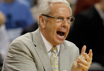 GREENSBORO, NC - MARCH 18:  Head coach Roy Williams of the North Carolina Tar Heels reacts in the first half while taking on the Creighton Bluejays during the third round of the 2012 NCAA Men's Basketball Tournament at Greensboro Coliseum on March 18, 201