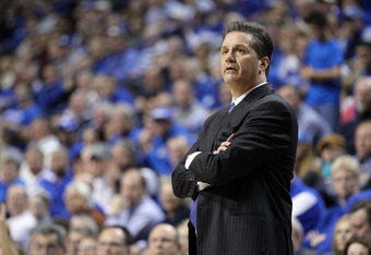LEXINGTON, KY - JANUARY 21:  John Calipari the head coach of the Kentucky Wildcats watches the action during the game against the Alabama Crimson Tide at Rupp Arena on January 21, 2012 in Lexington, Kentucky.  (Photo by Andy Lyons/Getty Images)