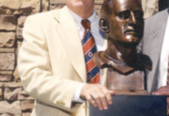 McDonald with his Hall of Fame bust.