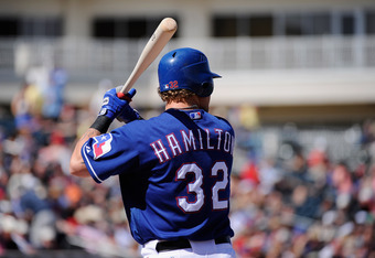 SURPRISE, AZ - MARCH 11:  Josh Hamilton #32 of the Texas Rangers in action against the Cleveland Indians during a spring training baseball game at Surprise Stadium on March 11, 2012 in Surprise, Arizona.  (Photo by Kevork Djansezian/Getty Images)
