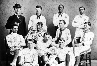 Oberlin's 1881 Baseball Team. Pictured are Moses Fleetwood Walker (second row, far left) and his brother Welday (standing, second from right)