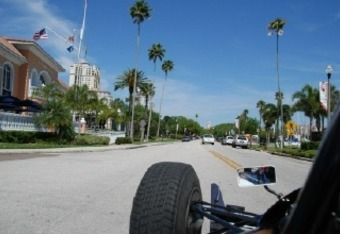The view from the two-seater IndyCar on downtown St. Petersburg street