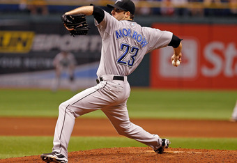 ST PETERSBURG, FL - SEPTEMBER 23:  Pitcher Brandon Morrow #23 of the Toronto Blue Jays pitches against the Tampa Bay Rays during the game at Tropicana Field on September 23, 2011 in St. Petersburg, Florida.  (Photo by J. Meric/Getty Images)