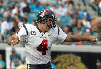JACKSONVILLE, FL - NOVEMBER 27:  Neil Rackers #4 of the Houston Texans reacts following an extra point during the game against the Jacksonville Jaguars at EverBank Field on November 27, 2011 in Jacksonville, Florida.  (Photo by Sam Greenwood/Getty Images)