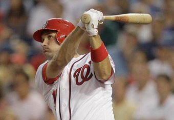 WASHINGTON, DC - JULY 06:  Ryan Zimmerman #11 of the Washington Nationals bats against the Chicago Cubs at Nationals Park on July 6, 2011 in Washington, DC.  (Photo by Rob Carr/Getty Images)