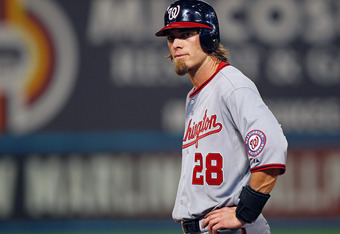 MIAMI GARDENS, FL - SEPTEMBER 26:  Jayson Werth #28 of the Washington Nationals looks on during a game against the Florida Marlins at Sun Life Stadium on September 26, 2011 in Miami Gardens, Florida.  (Photo by Mike Ehrmann/Getty Images)