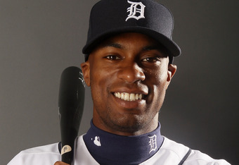 LAKELAND, FL - FEBRUARY 28:  Austin Jackson #14 of the Detroit Tigers poses for a portrait on February 28, 2012 at Joker Marchant Staduim in Lakeland, Florida.  (Photo by Elsa/Getty Images)