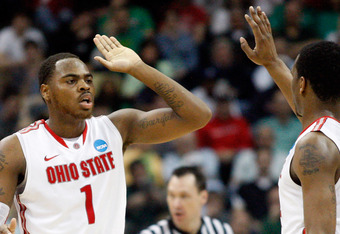 PITTSBURGH, PA - MARCH 17:  Deshaun Thomas #1 and William Buford #44 of the Ohio State Buckeyes celebrate a play against the Gonzaga Bulldogs during the third round of the 2012 NCAA Men's Basketball Tournament at Consol Energy Center on March 17, 2012 in