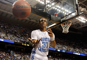 GREENSBORO, NC - MARCH 18:  John Henson #31 of the North Carolina Tar Heels is passed the ball after a turnover in the second half against the Creighton Bluejays during the third round of the 2012 NCAA Men's Basketball Tournament at Greensboro Coliseum on