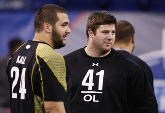 INDIANAPOLIS, IN - FEBRUARY 25: Offensive linemen Riley Reiff of Iowa (right) and Matt Kalil of USC look on during the 2012 NFL Combine at Lucas Oil Stadium on February 25, 2012 in Indianapolis, Indiana. (Photo by Joe Robbins/Getty Images)