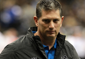 NEW ORLEANS, LA - JANUARY 07:  Head coach Jim Schwartz of the Detroit Lions looks on during warm ups prior to playing against the New Orleans Saints in the 2012 NFC Wild Card Playoff at Mercedes-Benz Superdome game on January 7, 2012 in New Orleans, Louis