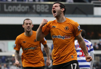LONDON, ENGLAND - FEBRUARY 04:  Matthew Jarvis of Wolverhampton Wanderers celebrates scoring the equalising goal during the Barclays Premier League match between Queens Park Rangers and Wolverhampton Wanderers at Loftus Road on February 4, 2012 in London,