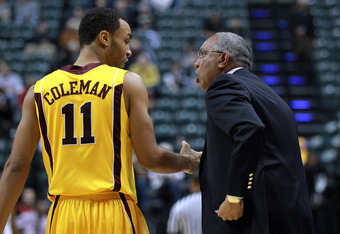 INDIANAPOLIS, IN - MARCH 08:  Head coach Tubby Smith of the Minnesota Golden Gophers talks with Joe Coleman #11 against the Northwestern Wildcats during their first round game of 2012 Big Ten Men's Basketball Conferene Tournament at Bankers Life Fieldhous