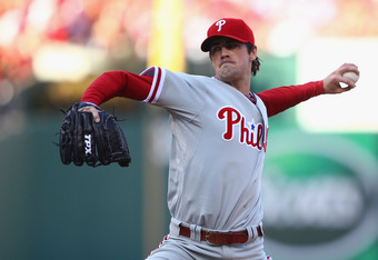 ST. LOUIS, MO - OCTOBER 4: Starter Cole Hamels #35 of the Philadelphia Phillies pitches against the St. Louis Cardinals during game three of the National League Division Series at Busch Stadium on October 4, 2011 in St. Louis, Missouri.  (Photo by Dilip V