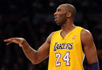 LOS ANGELES, CA - FEBRUARY 20:  Kobe Bryant #24 of the Los Angeles Lakers reacts to a play against the Portland Trail Blazers during the first half at Staples Center on February 20, 2012 in Los Angeles, California.  NOTE TO USER: User expressly acknowledg