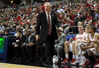 INDIANAPOLIS, IN - MARCH 09:  Bo Ryan the head coach of the Wisconsin Badgers gives instructions to his team during the game against the Indiana Hoosiers during the quarterfinals of the Big Ten Basketball Tournament at Bankers Life Fieldhouse on March 9,