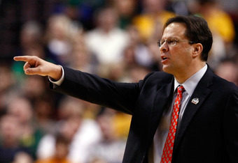PORTLAND, OR - MARCH 17:  Head coach Tom Crean of the Indiana Hoosiers reacts in the first half while taking on the Virginia Commonwealth Rams during the third round of the 2012 NCAA Men's Basketball Tournament at the Rose Garden Arena on March 17, 2012 i