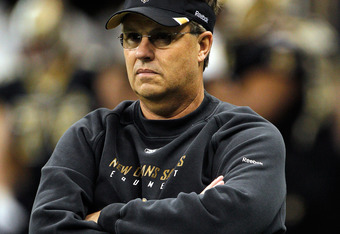 NEW ORLEANS, LA - JANUARY 07:  Defensive coordinator Gregg Williams of the New Orleans Saints looks on during warms up prior to playing against the Detroit Lions at Mercedes-Benz Superdome during their 2012 NFC Wild Card Playoff game on January 7, 2012 in