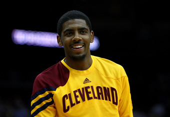 NEWARK, NJ - MARCH 19:  Kyrie Irving #2 of the Cleveland Cavaliers looks on during warm ups against the New Jersey Nets at Prudential Center on March 19, 2012 in Newark, New Jersey.  NOTE TO USER: User expressly acknowledges and agrees that, by downloadin
