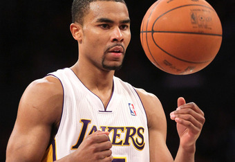 LOS ANGELES, CA - MARCH 18: Ramon Sessions #7 of the Los Angeles Lakers prepares to shoot a foul shot against the Utah Jazz at Staples Center on March 18, 2012 in Los Angeles, California. The Jazz won 103-99.   NOTE TO USER: User expressly acknowledges an