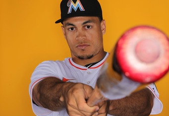 JUPITER, FL - FEBRUARY 27: Outfielder Mike Stanton #27 of the Miami Marlins poses for photos during media day on February 27, 2012 in Jupiter, Florida. (Photo by Marc Serota/Getty Images)