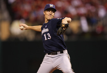 ST LOUIS, MO - OCTOBER 14:  Zack Greinke #13 of the Milwaukee Brewers throws apitch against the St. Louis Cardinals during Game Five of the National League Championship Series at Busch Stadium on October 14, 2011 in St Louis, Missouri.  (Photo by Jamie Sq