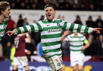 EDINBURGH, SCOTLAND - FEBRUARY 08:  Gary Hooper of Celtic celebrates after scoring during the Scottish Clydesdale Bank Premier League match between Hearts and Celtic at Tynecastle Park on February 8, 2012 in Edinburgh, Scotland.  (Photo by Jeff J Mitchell
