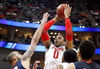 PITTSBURGH, PA - MARCH 17:  Jared Sullinger #0 of the Ohio State Buckeyes attempts a shot in the second half against Robert Sacre #00 of the Gonzaga Bulldogs during the third round of the 2012 NCAA Men's Basketball Tournament at Consol Energy Center on Ma